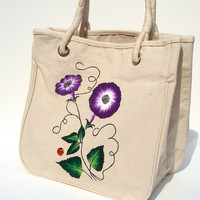 Hand Painted Natural Tote Bag with Purple Flowers and Ladybug Charm