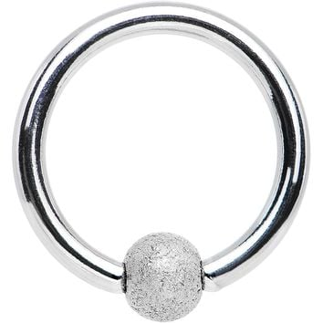 "16 Gauge 5/16"" Silver Sandblasted Steel BCR Captive Ring 3mm Ball"