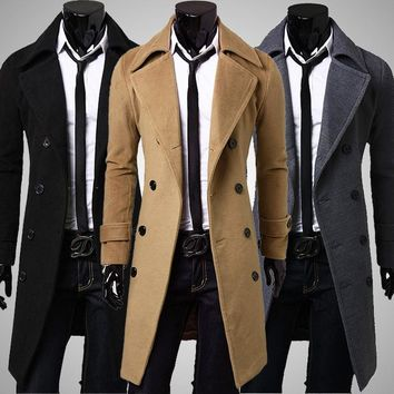 Long Woolen Coats Men 2016 Fashion Double-Breasted Jacket High Quality Overcoats Winter Warm Business German Gothic Clothing z30