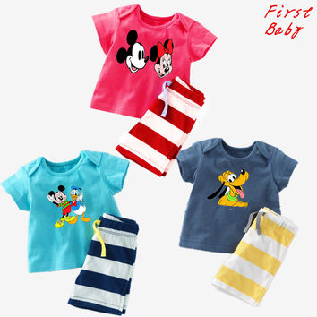 Summer baby girls boys cartoon mickey t shirt +striped shorts suit fashion childrens casual clothes new kids homewear 17F419