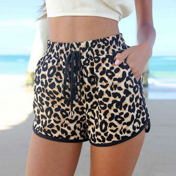 Summer plus size high waisted leopard shorts New Fashion sexy short pants for Women  beach casual printed elastic short