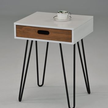 "White / Dark Oak Side End Table Nighstand Black Metal Legs with One Drawer 24""H - Mid-Century Style"