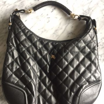 Authentic Women's Burberry Quilted Black Leather Shoulder Bag