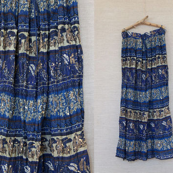 vintage boho skirt / blue skirt / blue Indian skirt / boho indian skirt / long skirt / wrinkled skirt / hippie boho chic / crinkle coton