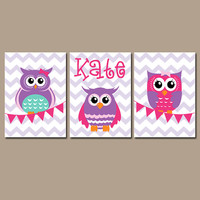 OWL Wall Art Nursery Canvas Artwork Girl Child Pink Purple Personalized Name Bunting Flag Set of 3 Prints Flower   Decor Bedroom  Three