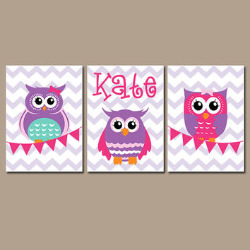 Owl Wall Art Nursery Canvas Artwork Child Pink Purple Personalized Name Bunting Flag Set Of