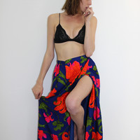 Vintage Neon Floral Gypsy Skirt