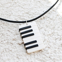 Piano necklace, Music jewelry, Keyboard necklace, Piano pendant, Mens necklace music, Musical instrument, Piano player gift, Unisex pendant