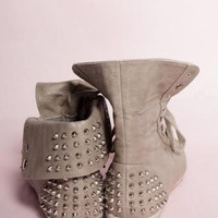 Light Brown Studded Spike Lace Up High Tops