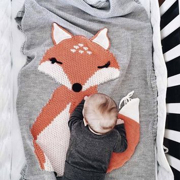 Baby Blanket Newborn Fox Knitting Blanket Bedding Quilt For Bed Sofa Crochet Yarn Blanket Photography Props Play Mat ^