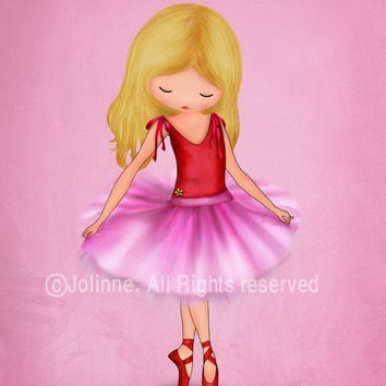 Children art print, Ballerina dancer art print, illustration for girls room, nursery decor,etsy childrens art, kids artwork, pink