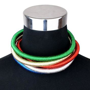 "15.50"" coil 5 row layer metallic choker collar bib coil necklace .75"" wide"
