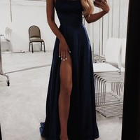 A-Line Navy blue Prom Dresses Satin Fashion Dress Cheap Evening Dress Long Party Evening gowns H5998