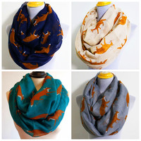 New Fashion Fox Infinity Scarf Loop Animal Scarves Fox Shawls