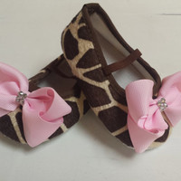 Giraffe Baby Crib Shoe's With SWAROVSKI Crystal's