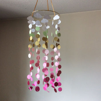 Nursery mobile, baby mobile, Shades of Pink Circles & Clouds with a hint of gold sparkle mobile. Baby Nursery mobile, modern Crib mobile