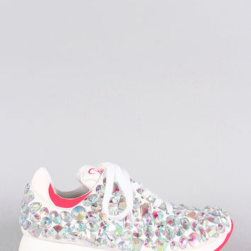 Privileged Jeweled Lace Up Sneaker