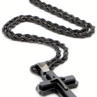 Mens Blackout 3D Steel Cross Necklace