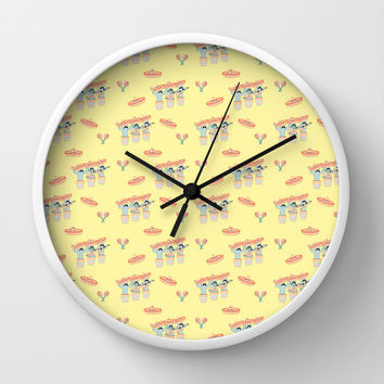 Fiesta!! Mariachi Cactus Band In Yellow Wall Clock by CandyBoxDigital