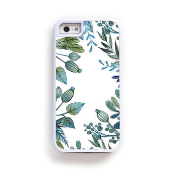 Illustrated botanical green and blue boarder on white for iPhone 6