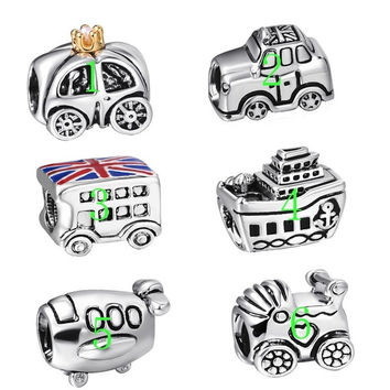 Hot Fashion Fairy Tale Carriage Shape 925 Sterling Silver European Bead Charm For DIY Snake Bracelet Bangle Beauty Girls Jewelry = 4849859268