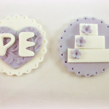 12 Purple White Cupcake Wedding Fondant Toppers, Wedding Cake Embossed Heart Cupcake, Engagement Fondant, Bridal Shower, Initial Topper