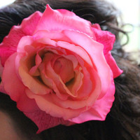Large Fuschia Silk Rose Hair Clip