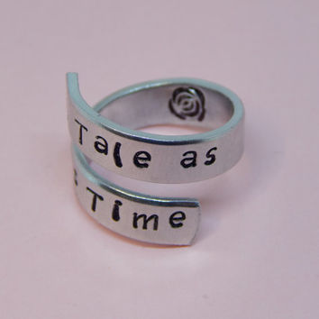 A Tale As Old As Time Wrap Ring Hand Stamped Gift Under 20 Wrap Ring Hand Stamped Gift Under 20