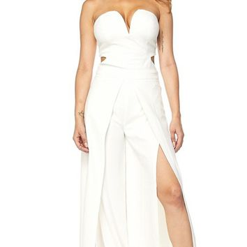 Had Enough White Strapless V Neck Cut Out Back Split Loose Wide Leg Jumpsuit