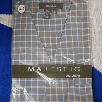 Majestic Men's Short Sleeve/Shorts Pajama Set, Blue/Tan Check, M, 147