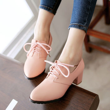 Lace Up Women Pumps Jelly Shoes Chunky Heel 4589