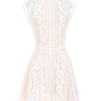 LOVER WHITE CAP SLEEVES ENGLISH LACE FLARED DRESS