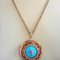 Vintage Hand Painted Floral Enamel Locket Pendant Necklace