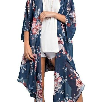 ICIKAB3 143 Story by Line Up Long Floral Print Chiffon Blue Cardigan
