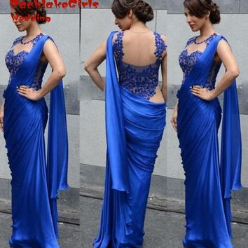 Kaftan Indian Saree Mermaid Floor Length Lace Formal Royal Blue Chffon Vestido De Festa Evening Gowns China Dresses