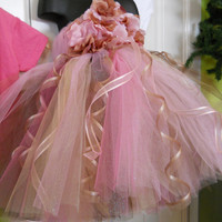 Elegant Flower Girl TuTU DRess Damask Chocolate and Pink Elegant Tutu Dress with matching hair piece. 2T-5T