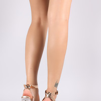 Metallic Ankle Strap Chunky Lucite Heel