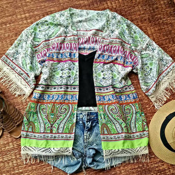 Kimono Green Paisleys Boho Hippie Cardigan with Fringed Festival Gypsy fabric pattern Beach Cover Up For Summer Bohemian women fashion chic