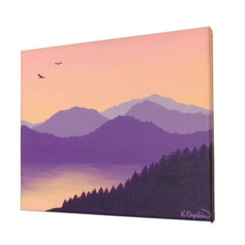 Mountain Lake Under a Dawn Sky original art - acrylic landscape painting of a mountain scene in purples, with a peach and pink morning sky