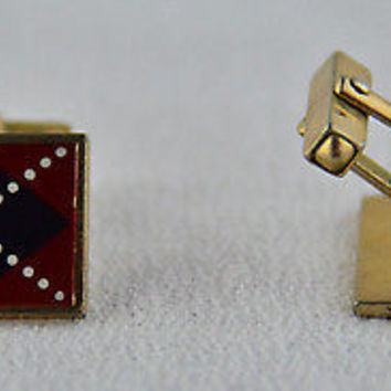 Vintage Swank Cufflinks Plaid with X Design