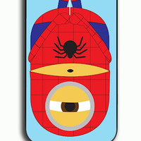 iPhone 4S Case - Rubber (TPU) Cover with Minions Spiderman Rubber Case Design