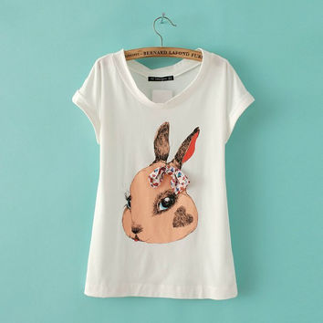 Summer Women's Fashion Lovely Rabbit Handcrafts Butterfly Cotton Tops T-shirts [6047715905]