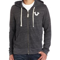 True Religion Men's Echo Park Branded Applique Full Zip Terry Hoodie