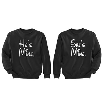 XtraFly Apparel She's He's Mine Valentine's Matching Couples Pullover Crewneck-Sweatshirt