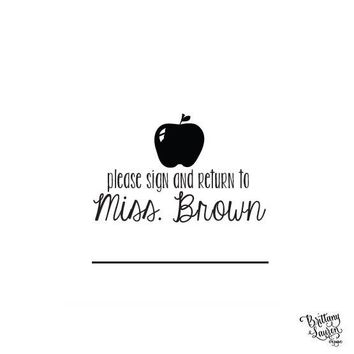 Personalized Custom Rubber Stamp or Self Inking - Teacher Stamp- Apple - Please sign and return