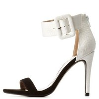 Black/White Qupid Color Block Ankle Strap Heels