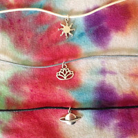 Adjustable Charm Choker / Adjustable Cord Choker / Cotton Waxed Cord / Sun / Saturn / Planet / Lotus Flower / Sun Flower / Layering Necklace