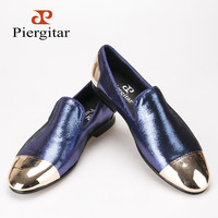 Piergitar new style blue plaid sheepskin men's shoes with front and back metal toe Fashion Handmade slipper loafers men's flats