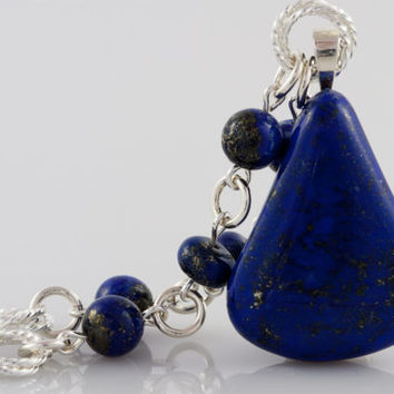 Lapis Lazuli Pendant Necklace on Beaded Strand of Lapis Lazuli Beads and Silver Rings