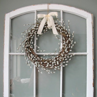 Pussy Willow Wreath/ Rustic Spring Wreath/ Spring Wedding Decor/ Nursery Decor